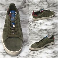 Adidas Originals 3 StripesMen's Size 9.5 Olive Suede Camo Tongue Campus Sneakers