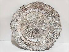 GORGEOUS Christmas Holiday Silver Chargers Plates Set of 4