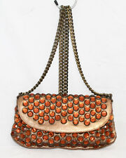511a9f3b0df MARTINE SITBON Metallic Bronze Leather Jeweled Shoulder Bag Clutch Chain  Strap