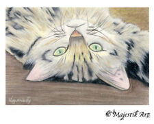 "Tabby Cat Feline Pet ACEO Print ""Long day"" By V Kenworthy"