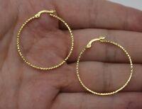 REAL 10K Yellow Gold big Large hoop Diamond Cut Earrings 37mm x2mm 1.8gr