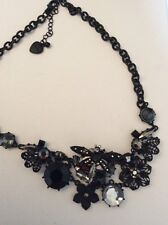 Betsey Johnson blackout  filigree flower~dragonfly crystal necklace $55 # b14