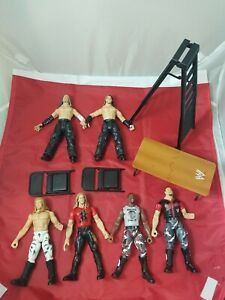 WWE Figure Lot JAKKS Dudleys Hardys Edge Christian w/Weapons TTL TLC Vintage WWF