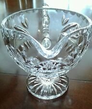Cut Glass Footed Crystal Clear  Pitcher Creamer -Etched & Chiseled Edge Design