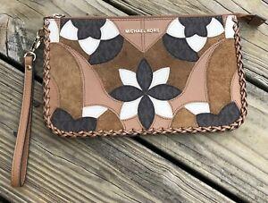 NWOT Michael Kors Leather Jet Set Floral Flower Zip Clutch Wristlet Wallet XL