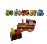 Set of 2 Kids Wooden Vehicle Toy Cars Toys Play Wooden Toy Themed Take a part