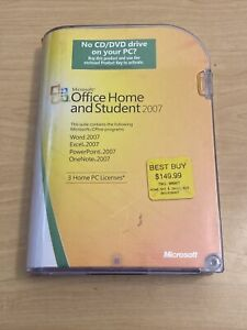 Microsoft MS Office 2007 Home and Student Disc and Key In The Box