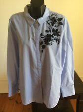 Country Road Womens Blue & White Embroidered Shirt in Size 16 .