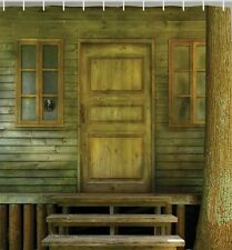 Rustic Old Wooden Log Cabin Door Steps Fabric SHOWER CURTAIN Primitive Home  Bath