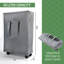 "22"" Rolling Slim Laundry Hamper Basket Foldable Waterproof Sorter Organizer Bin"