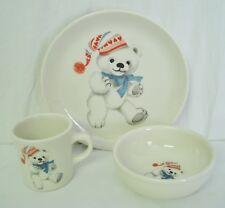 Homer Laughlin Child's Plate Bowl Mug Set Teddy Bear White Red Hearts Winter