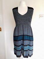 MAX STUDIO Dress Size L 12 Smocked Green/Black/White Stretch Summer Sleeveless