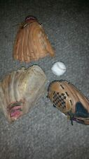 3 Father Son Baseball Gloves and Ball Rawlings  Adult & Youth ball RBG 90 H11OT