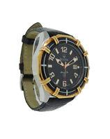 Bulova Marine Star 98B154 Men's Black Round Analog Date Leather Stainless Watch