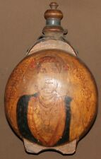 Antique hand made pyrography wood brandy & wine flask pitcher