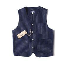 BOB DONG Wabash Indigo Dot Railroad Vest Vintage Men's Striped Work Jacket New