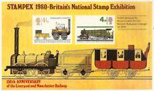1980 STAMPEX 150th ANNIV LIVERPOOL/MANCHESTER RAILWAY SHEET w/1975 QE2 TRAINS