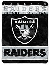 NFL Oakland Raiders Plush Raschel Blanket, 60 X 80-Inch, Black