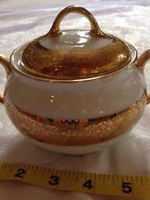 Royal Bavarian China Sugar Bowl With Lid Real Gold Trim Vintage Antique