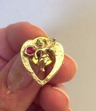 CHERUB PIN,Cherub and heart pin, gold tone cherub pin,gift for her,mother's day