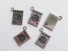 4pz charm Passaporto x collana ciondolo colore argento tibet 18X12mm