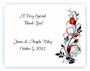 100 Custom Personalized Red Rose Wedding Bridal Thank You Cards