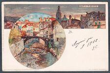 IMPERIA SANREMO 87 Illustratore MANUEL WIELANDT Cartolina viaggiata 1902