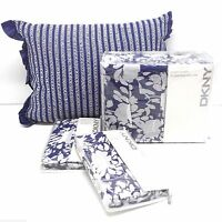 DKNY Flowering Willow INDIGO 4pc FULL QUEEN DUVET COVER SHAMS PILLOW COTTON NEW
