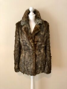 Ruby + Ed, Faux Fur Designer Coat Jacket, Size 8-10 (Fits 12) (RRP £230)