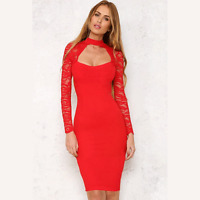 Ladies Womens  Long Sleeve Lace Bodycon Choker Dress Evening Cocktail Party