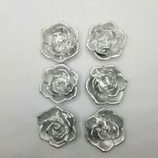 "LOT of 6 Metallic Silver Roses 1.5"" Votive Unscented Floating Candles (PC10)"