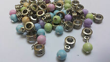 15 Mixed Tennis Ball Dangle Eureopean Bead Fit Charm Bracelet 8mm