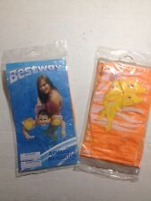 Bestway Arm Bands Inflatable Floaties Floaters Dolphins Orange Lot of 2 Pairs