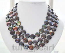 "50""13-14mm black coin freshwater pearl necklace SILVER Clasp"