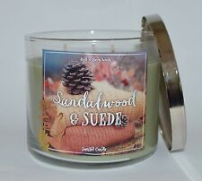 BATH & BODY WORKS SANDALWOOD SUEDE SCENTED CANDLE 14.5 OZ 3 WICK LARGE WOOD LOOK