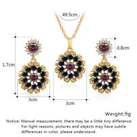 Women Gold Plated Crystal Flower Pendant Chain Necklace Earrings Jewelry Sets