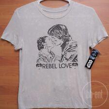 STAR WARS T-Shirt Rebel Love Large Cream Beige Han Solo Leia Retro Junior's