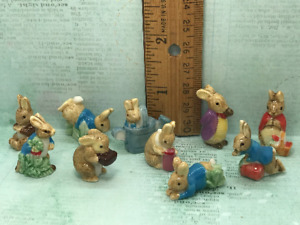 Wee PETER RABBIT Beatrix Potter Rabbits 10 pcs French Feves Figurines Miniatures
