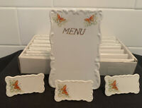 13pc Vintage MCM SHAFFORD PORCELAIN PLACECARD NAME PLATE HOLDER & MENU Butterfly