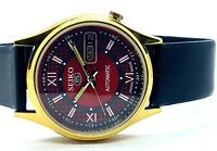 SEIKO 5 AUTOMATIC  GOLD PLATED VINTAGE RED  DIAL MADE JAPAN WATCH RUN ORDER