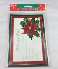 Amscan Pine Green And Red Holiday Invitation Cards 8 Cards Christmas Poinsettia