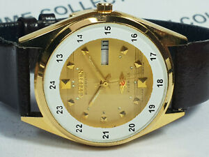 Vintage Citizen Mechanical Automatic Day Date Mens Wrist Watch WU224 F