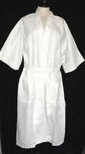 NEW UNISEX RIMANN WHITE COTTON BLEND WAFFLE CLOTH LONG KIMONO BATH ROBE ONE SZ