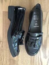 New! Geox Patent Leather Jr Agata Black Patent Tassle Loafers 33 Size 1 Kids