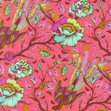 By 1/2 Yard ~ Free Spirit Tula Pink Fabric All Stars ~ Tail Feathers in Poppy