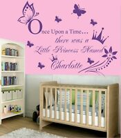 Once upon a time Princess Quote Personalised wall art sticker  for Girls Bedroom