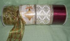 """4 bolts  assorted wire edged ribbon 2 1/2"""" golds, burgundy and ivory"""