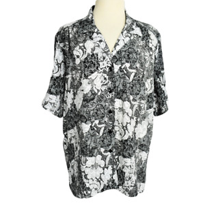 Donnkenny Womens XL Floral Lace Print Top Relaxed Crinkle Button Up SS Black