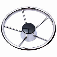 Boat Stainless Steel Steering Wheel 5 Spoke 25 Degree 13-1/2'' For Marine Yacht