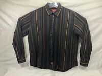 Faconnable Mens XL Brown Blue Oxford Button Down Striped Dress shirt XL EUC